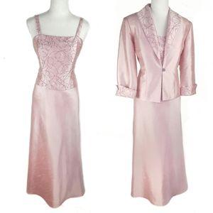 Jessica Howard Beaded Evening Gown & Jacket Set